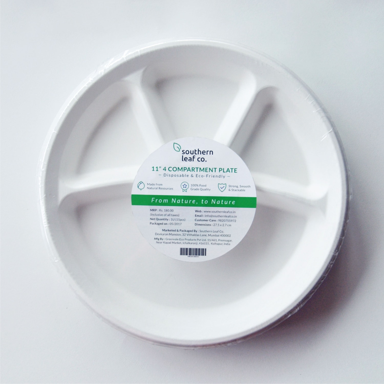 SLC 11 Inch 4 Compartment Round Plate | Eco-friendly, Disposable | Pack of  15